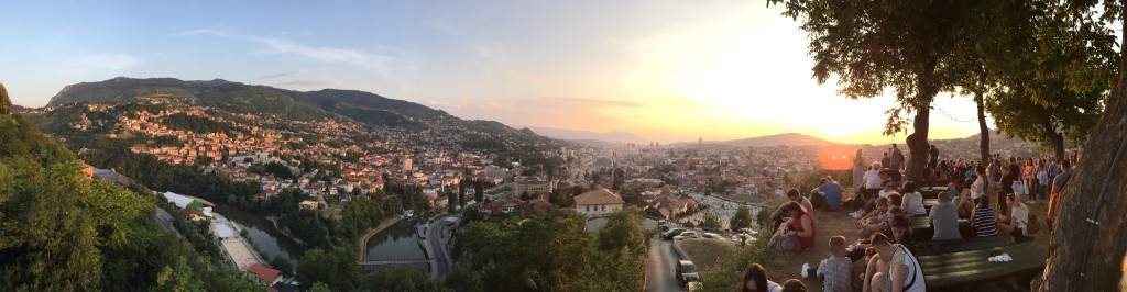 Sarajevo at Dusk.  Taken from the Yellow Fort on the last night of Ramadan.