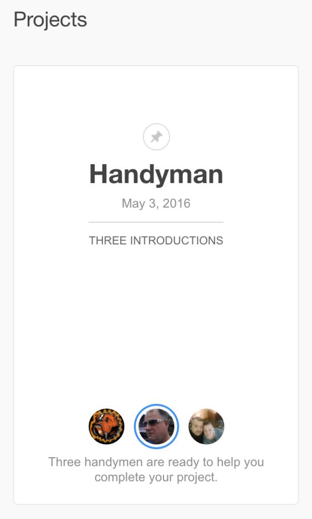 A thumbtack project dashboard view - Thumbtack
